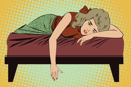 lies: Stock illustration. People in retro style pop art and vintage advertising. Broken heart. Girl lies on bed and crying.