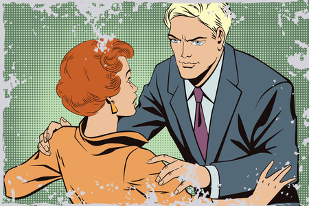 courtship: Stock illustration. People in retro style pop art and vintage advertising. Broken heart. Girl and boy talking.