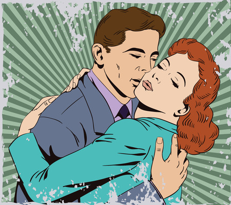 Stock illustration. People in retro style pop art and vintage advertising. Embraces of a loving couple. Grunge version.