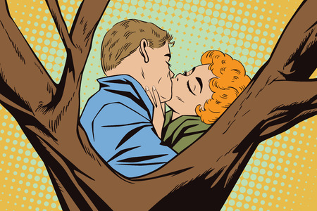Stock illustration. People in retro style pop art and vintage advertising. Kiss of a loving couple. Illustration