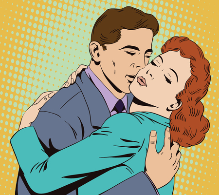 Stock illustration. People in retro style pop art and vintage advertising. Embraces of a loving couple Illustration