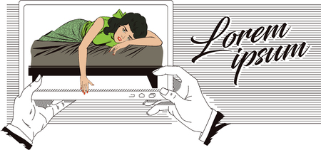 courtship: Stock illustration. People in retro style pop art and vintage advertising. Broken heart. Girl lies on bed and crying. Picture in mobile tablet. Illustration