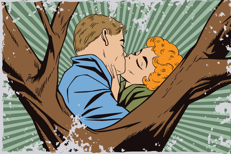 Stock illustration. People in retro style pop art and vintage advertising. Kiss of a loving couple. Grunge version. Illustration
