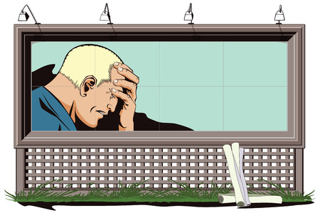 despondency: Stock illustration. People in retro style pop art and vintage advertising. Upset man clutching his head. Poster for your brand.