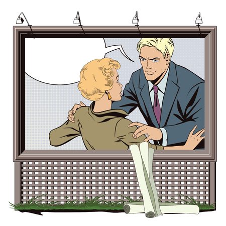 Stock illustration. People in retro style pop art and vintage advertising. Broken heart. Girl and boy talking. Poster for your brand.