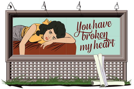 courtship: Stock illustration. People in retro style pop art and vintage advertising. Broken heart. Girl lies on bed and crying. Poster for your brand. Illustration