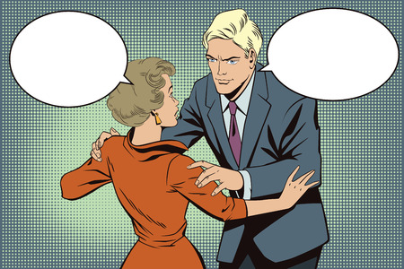 Stock illustration. People in retro style pop art and vintage advertising. Broken heart. Girl and boy talking.