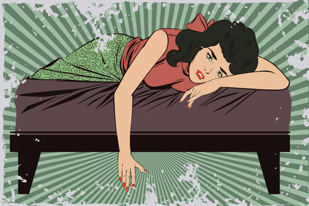 Stock illustration. People in retro style pop art and vintage advertising. Broken heart. Girl lies on bed and crying.