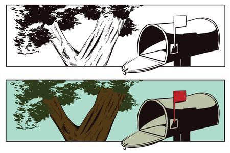 roadside: Stock illustration. Roadside mailbox.