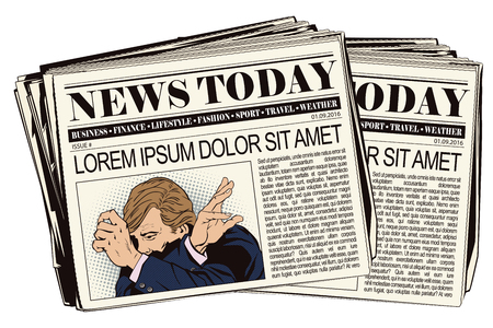 despondency: Stock illustration. People in retro style pop art and vintage advertising. Upset man clutching his head. Newspaper article.