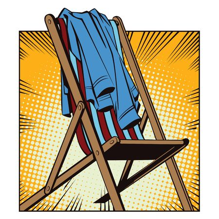 chaise longue: Stock illustration. Object in retro style pop art and vintage advertising. Beach chaise longue with abandoned clothes. Illustration