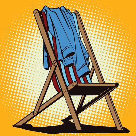 longue: Stock illustration. Object in retro style pop art and vintage advertising. Beach chaise longue with abandoned clothes. Illustration