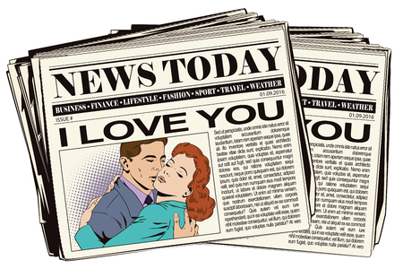 courtship: Stock illustration. People in retro style pop art and vintage advertising. Embraces of a loving couple. Newspaper article. Illustration