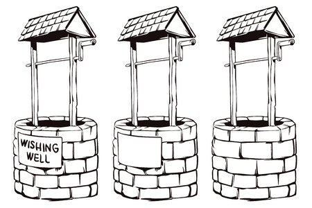 wishing: Stock illustration. Cartoon black and white vector wishing well