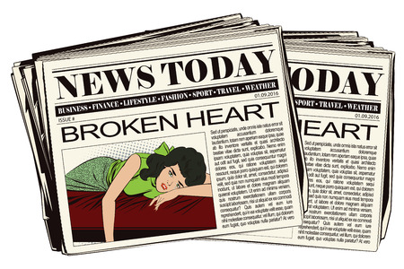 courtship: Stock illustration. People in retro style pop art and vintage advertising. Broken heart. Girl lies on bed and crying. Newspaper article. Illustration