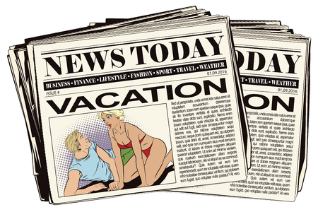 declaration: Stock illustration. People in retro style pop art and vintage advertising. Girl and guy on beach. Romantic declaration of love. Newspaper article.
