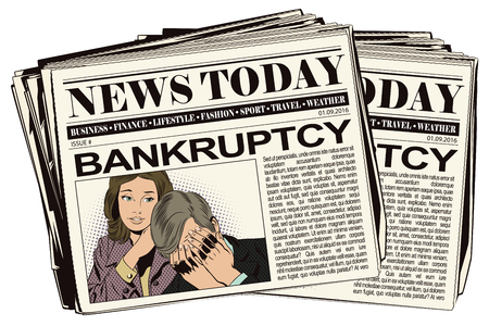 advertising woman: Stock illustration. People in retro style pop art and vintage advertising. Woman soothes upset man. Bankruptcy. Business failure. Newspaper article.