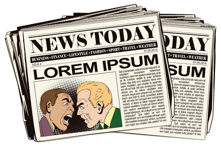 Stock illustration. People in retro style pop art and vintage advertising. Two men swear. Newspaper article.