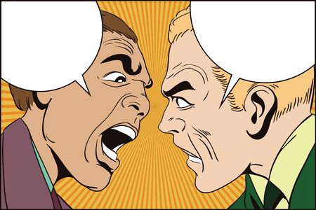 Stock illustration. People in retro style pop art and vintage advertising. Two men swear.