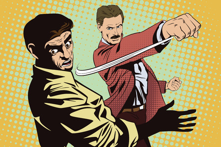 misunderstanding: Stock illustration. People in retro style pop art and vintage advertising. Fight of two men.