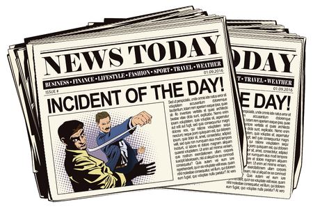 misunderstanding: Stock illustration. People in retro style pop art and vintage advertising. Fight of two men. Newspaper article.