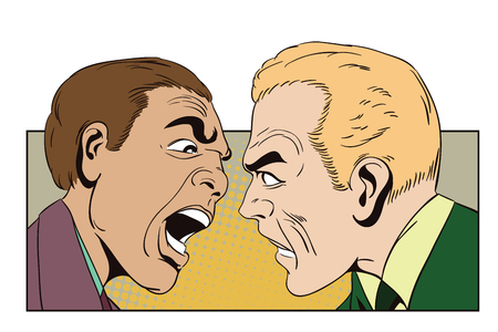 annoyed: Stock illustration. People in retro style pop art and vintage advertising. Two men swear. Illustration