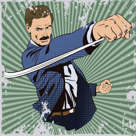 brawl: Stock illustration. People in retro style pop art and vintage advertising. Man beats his fist.