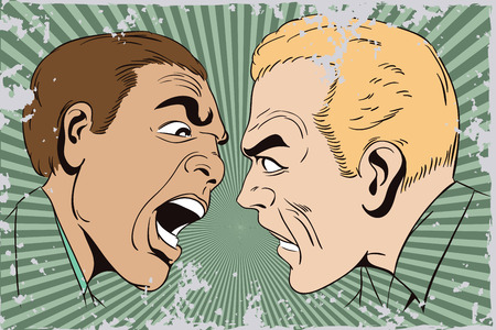 Stock illustration. People in retro style pop art and vintage advertising. Two men swear. Illustration