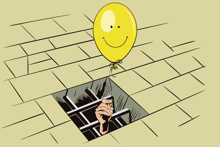 funny image: Stock illustration. Jail. Lattice in window prison. Hand with a balloon. Funny image cheerful person.