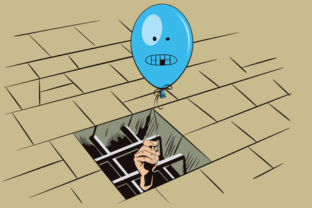 offended: Stock illustration. Jail. Lattice in window prison. Hand with a balloon. Funny image offended person.