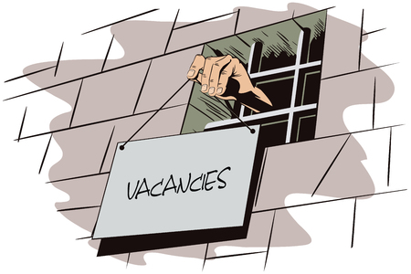vacancies: Stock illustration. Jail. Lattice in window prison. Hand holds a sign. Vacancies