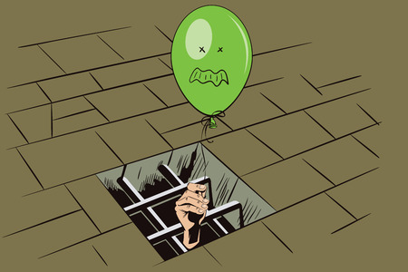 rage: Stock illustration. Jail. Lattice in window prison. Hand with a balloon. Funny image rage person.