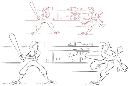 baseman: Stock illustration. Funny baseball. Sketch style. Flat line. Illustration