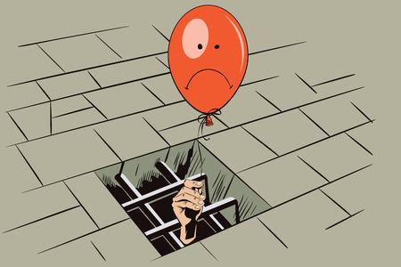 persona triste: La ilustración. Cárcel. Celosía en prisión ventana. Mano con un globo. Imagen divertida persona triste.