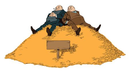 rich man: Stock illustration. People in retro style pop art and vintage advertising. Two rich man sitting on a mountain of money.