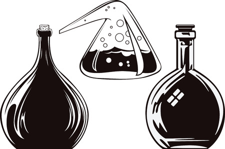 alquimia: La ilustración. Botella de la alquimia.