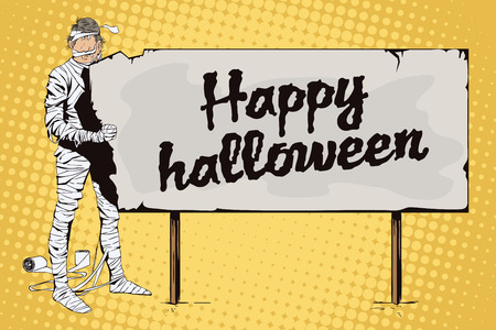 toilet paper art: Stock illustration. People in retro style pop art and vintage advertising. Man wrapped in toilet paper. Funny mummy. Happy Halloween.