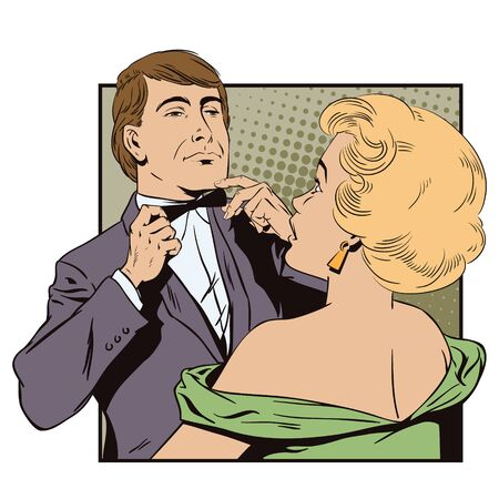 adjusting: Stock illustration. People in retro style pop art and vintage advertising. Proud guy adjusting his bow-tie. Girl terrified by this.