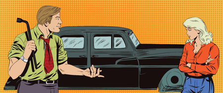 replace: Stock illustration. People in retro style pop art and vintage advertising. Man with tool to replace car wheels. Blame girl. Illustration