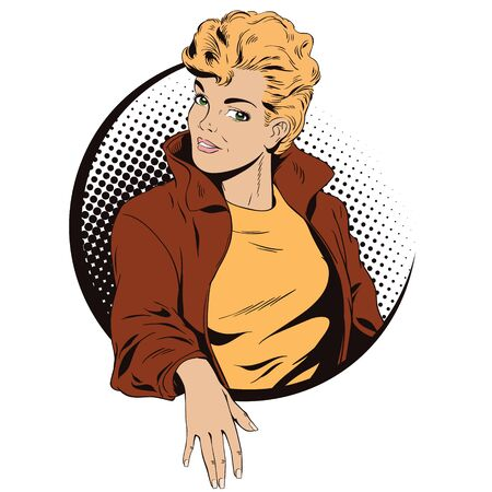 nude girl: Stock illustration. People in retro style pop art and vintage advertising. Beautiful girl in jacket. Illustration