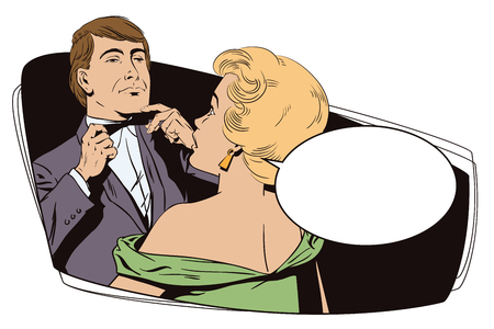 terrified: Stock illustration. People in retro style pop art and vintage advertising. Proud guy adjusting his bow-tie. Girl terrified by this.