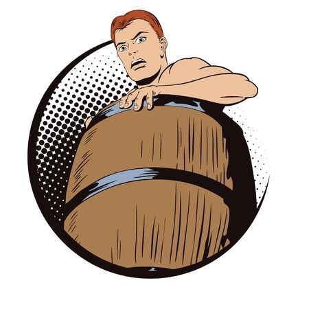 Stock illustration. People in retro style pop art and vintage advertising. Naked man inside a barrel. Ruin and debts. Illustration