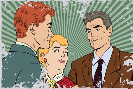 betrayal: Stock illustration. People in retro style pop art and vintage advertising. Quarrel. Rough talk. Two Guys arguing over a Girl