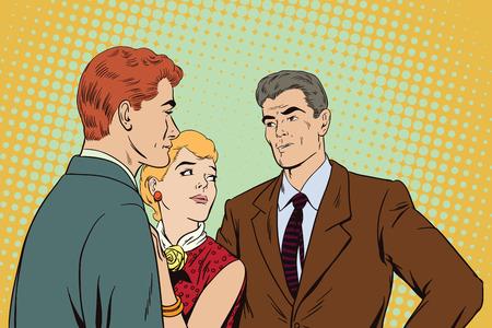 Stock illustration. Die Menschen im Retro-Stil Pop-Art und Vintage-Werbung. Streit. Raue Gespräch. Zwei Männer streiten über ein Mädchen