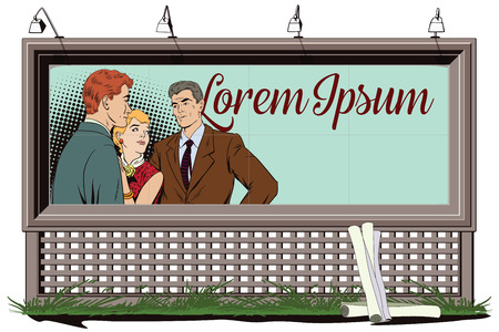 Stock illustration. People in retro style pop art and vintage advertising. Quarrel. Rough talk. Two Guys arguing over a Girl. Poster for your brand.