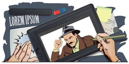 sleuth: Stock illustration. People in retro style pop art and vintage advertising. Detective of classic crime films. Hand paints picture on tablet. Illustration