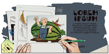 leans on hand: Stock illustration. Cartoon people. Proud farmer leans on a huge watermelon. Hand paints picture.