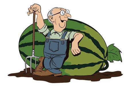 villager: Stock illustration. Cartoon people. Proud farmer leans on a huge watermelon.