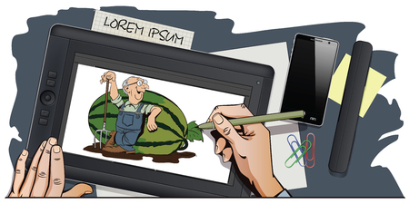 leans on hand: Stock illustration. Cartoon people. Proud farmer leans on a huge watermelon. Hand paints picture on tablet. Illustration