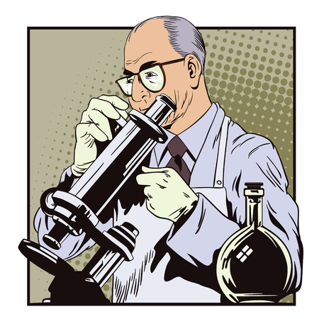 Stock illustration. People in retro style pop art and vintage advertising. Scientist with microscope.